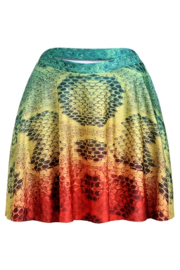 Yellow Womens Slimming Ombre Color Pleated Skirt