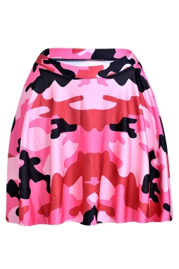 Pink Womens Slimming Camouflage Pleated Skirt