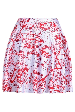Red Womens Slimming Blood Drop Printed Pleated Skirt