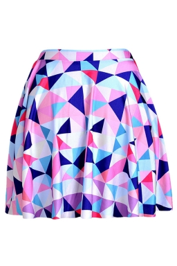 Pink Womens Slimming Argyle Printed Pleated Skirt