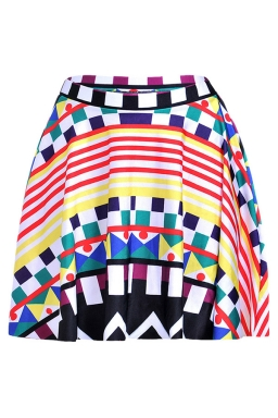 Red Womens Slimming Geometric Printed Pleated Skirt