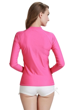 Rose Red Ultraviolet-proof Long Sleeve Chic Womens Diving Suit