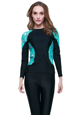 Black Ultraviolet-proof Color Blocking Stylish Womens Diving Suit
