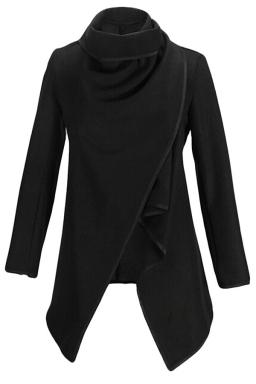 Ladies Irregularly Slimming Retro Wool Coat Black