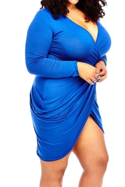 Womens Sexy Deep V Neck Ruched Long Sleeve Plus Size Dress Blue
