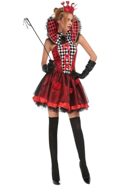 Womens Plaid Poker Sexy Halloween Costume Red
