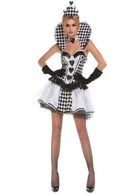 Womens Plaid Poker Sexy Halloween Costume White