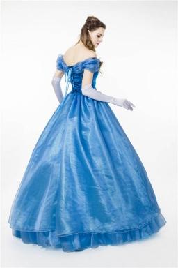 Women Fantastic Off Shoulder Cosplay Cinderella Halloween Costume Blue