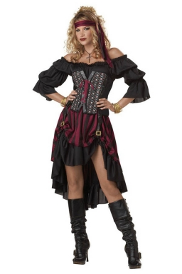 Womens Off Shoulder High Low Halloween Pirate Costume Ruby
