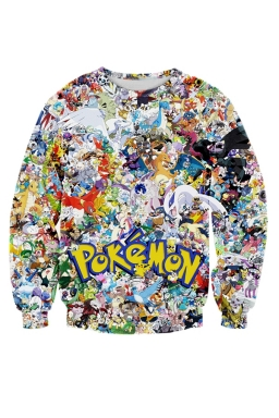 Womens Pokemon Invasion 3D Printed Sweatshirt Yellow