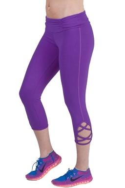 Womens Hollow Out Capri Sport Leggings Purple
