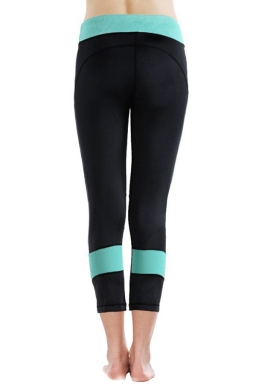 Womens High Waist Color Block Stretchable Sport Leggings Blue