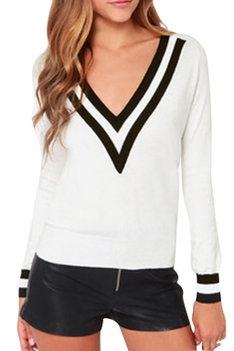 Girls Casual Plus Size V Neck Preppy Chic Knitted Sweater White