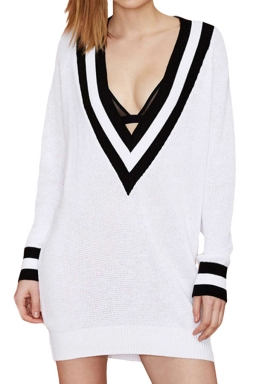 Womens Deep V Neck Color Block Oversized Knitted Sweater White