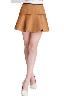 Womens A Line Back Zipper Pleated Skirt Khaki