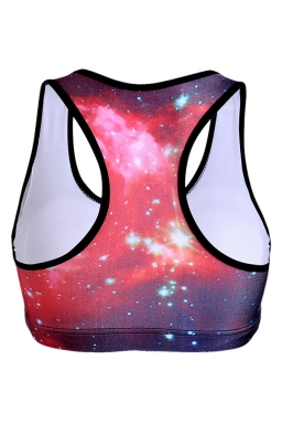 Womens Galaxy Printed Sports Bra Red