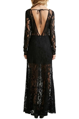 Womens Hook Flower Hollow Out Sexy Back Deep V Lace Maxi Dress Black