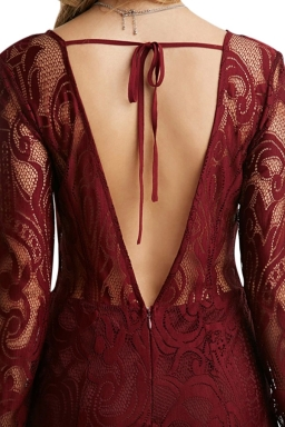 Womens Hook Flower Hollow Out Sexy Back Deep V Lace Maxi Dress Ruby