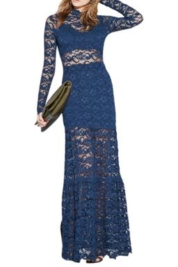 Womens Long Sleeve Lace Patchwork Maxi Evening Dress Blue