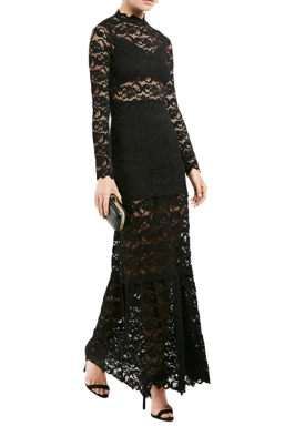 Womens Long Sleeve Lace Patchwork Maxi Evening Dress Black