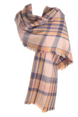 Womens Fashion Plaid Dual-Use Shawl and Scarf Beige