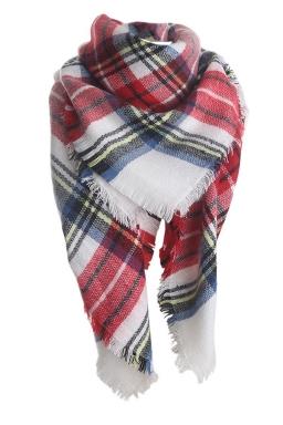 Womens Fashion Warm Plaid Shawl Scarf Ruby