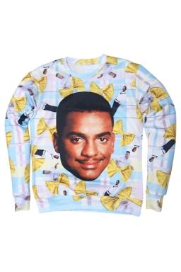 Womens Carlton Banks Fresh Prince of Bel Air 3D Print Sweatshirt Blue