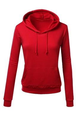 Womens Slim Plain Long Sleeve Active Drawstring Pullover Hoodie Red