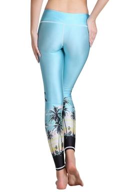 Womens Tree Style Digital Printed Yoga Sports Tight Leggings Blue