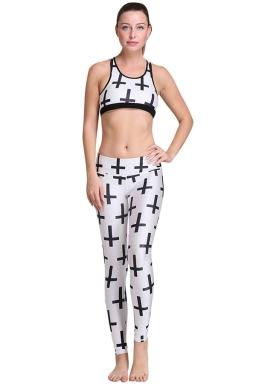 Womens Cross Pattern 3D Digital Printed Yoga Sports Bra Set White