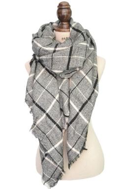 Womens Warm Cashmere Plaid Pattern Big Square Scarf Shawl Gray