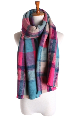 Womens Double Side Plaid Thick Warm Cashmere Shawl Scarf Rose Red