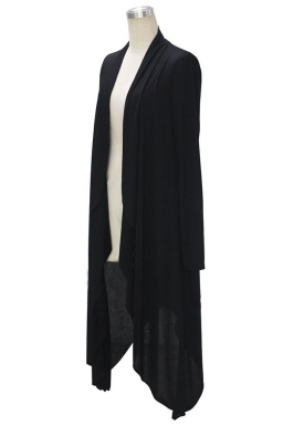 Womens Trendy Plain Long Sleeve Irregular Long Maxi Cardigan Black