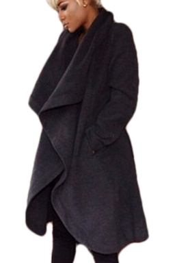 Womens Plain Chic Turn-Down Collar Long Sleeve Wool Coat Black