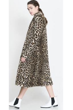 Womens High-end Atmospheric Imitation Leopard Fur Trench Coat Beige