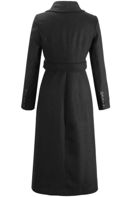 Womens Slim Lapel Double Breasted Sash Trench Coat Black