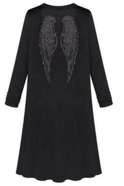 Womens Plain Long Sleeve Rhinestone Angel Wings Decor Cardigan Black
