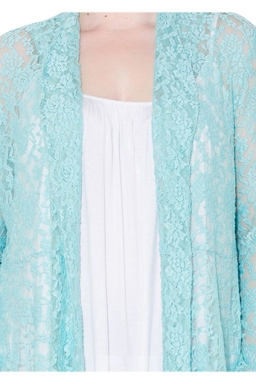 Womens Plain Long Sleeve Lace Crochet Plus Size Cardigan Turquoise