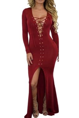 Womens Plain Long Sleeve Deep V Neck Lace-up Slit Maxi Dress Ruby
