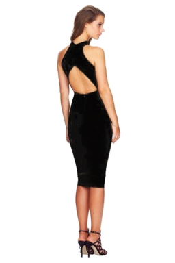 Womens Sexy Sleeveless Backless Halter Clubwear Dress Black