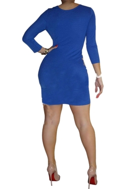 Womens Sexy Cut Out Lace-up 3/4 Length Sleeve Clubwear Dress Blue
