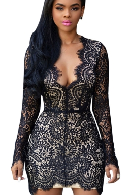 Womens Sexy V Neck Long Sleeve Backless Lace Bodycon Mini Dress Black
