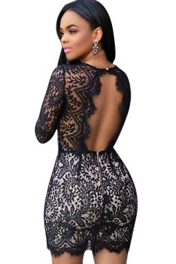 Womens Sexy V Neck Long Sleeve Backless Lace Bodycon Mini Dress Black