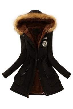 Womens Faux Fur Hooded Drawstring Thick Lined Parka Coat Black