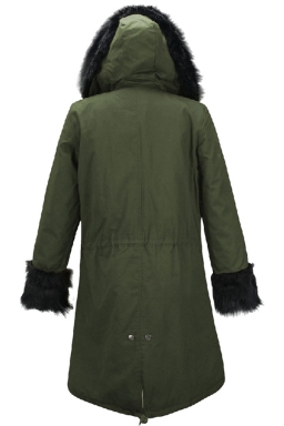 Womens Detachable Faux Fur Hooded Thick Warm Parka Coat Green