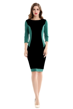 Womens Round Neck 3/4 Sleeve Color Block Spliced Bodycon Dress Black