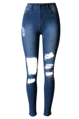 Womens Bleached Ripped High Waist Elastic Denim Leggings Blue