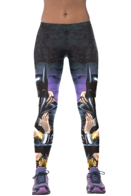 Womens Batman Kissing Wonder Girl 3D Print High Elastic Leggings Blue