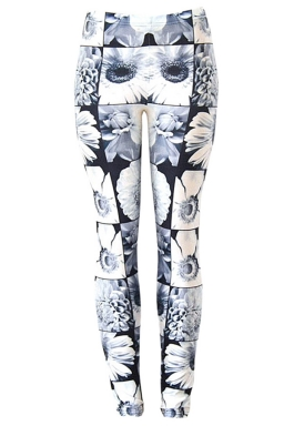 Womens Beautiful Daisy 3D Digital Print High Elastic Leggings White