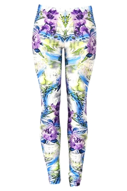 Womens Beautiful Flowers 3D Digital Print High Elastic Leggings Purple